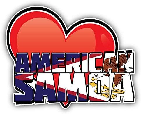 KW Vinyl American Samoa Art Heart Flag Travel Slogan Truck Car Window Bumper Sticker Decal 5