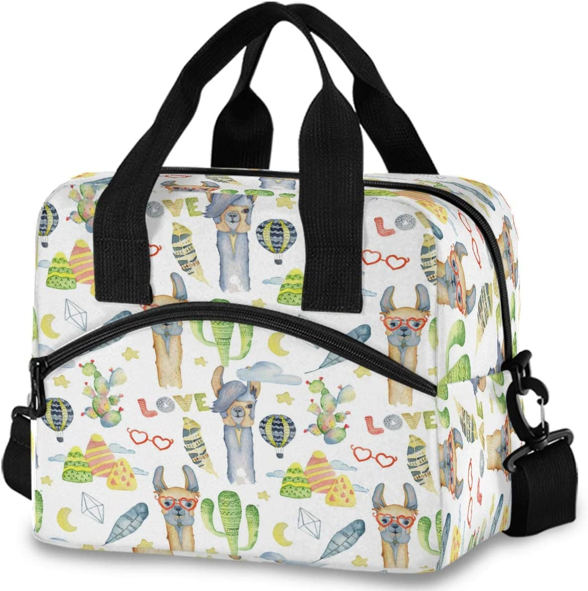 Oarencol Watercolor Llama Alpaca Cactus Insulated Lunch Tote Bag Tropical Animal Star Moon Reusable Cooler Lunch Box with Shoulder Strap for Women Men Work Picnic School Beach