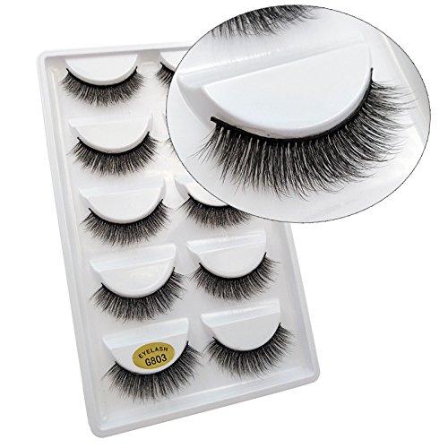 Lakkio 5 Pairs Pure Mink Hair Eyelashes 3D Eyelashes Extension Natural Dense False Eyelashes Handmade Lashes Set