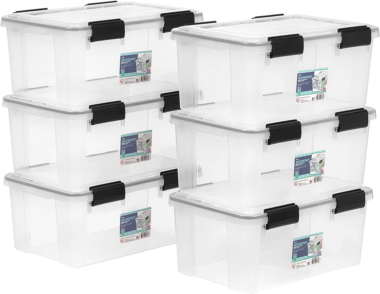 IRIS USA UCB-SS WEATHERTIGHT Storage Box, 6 Pack, 19 Quart, Clear
