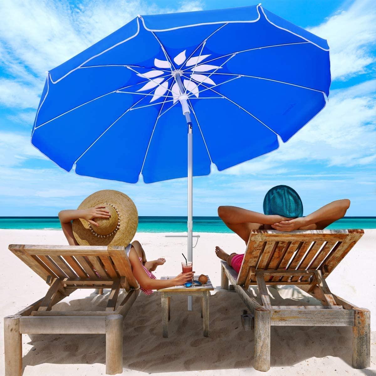 MOVTOTOP Beach Umbrella UV 50+, 6.5ft Umbrella with Sand Anchor & Tilt Aluminum Pole, Portable Beach Umbrella with Carry Bag for Beach Patio Garden Outdoor