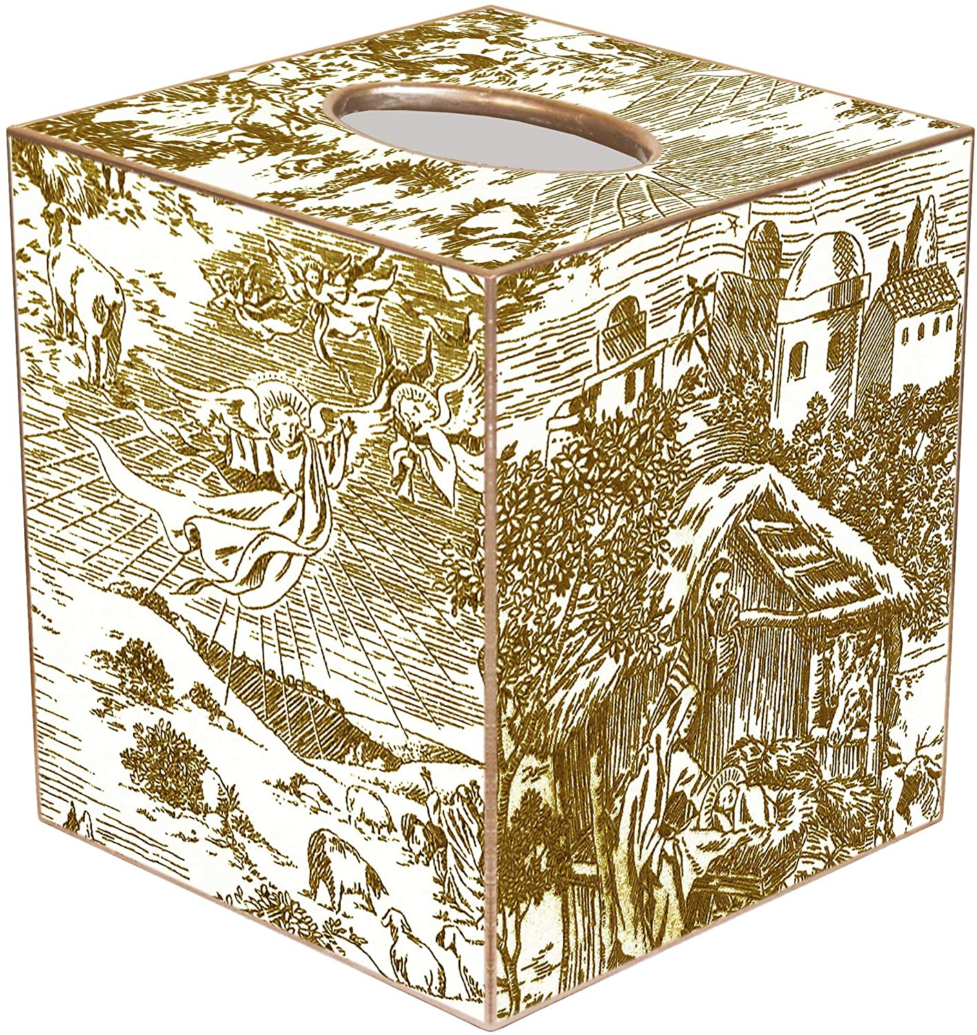 Marye-Kelley Nativity Toile Christmas Tissue Box Cover Gold