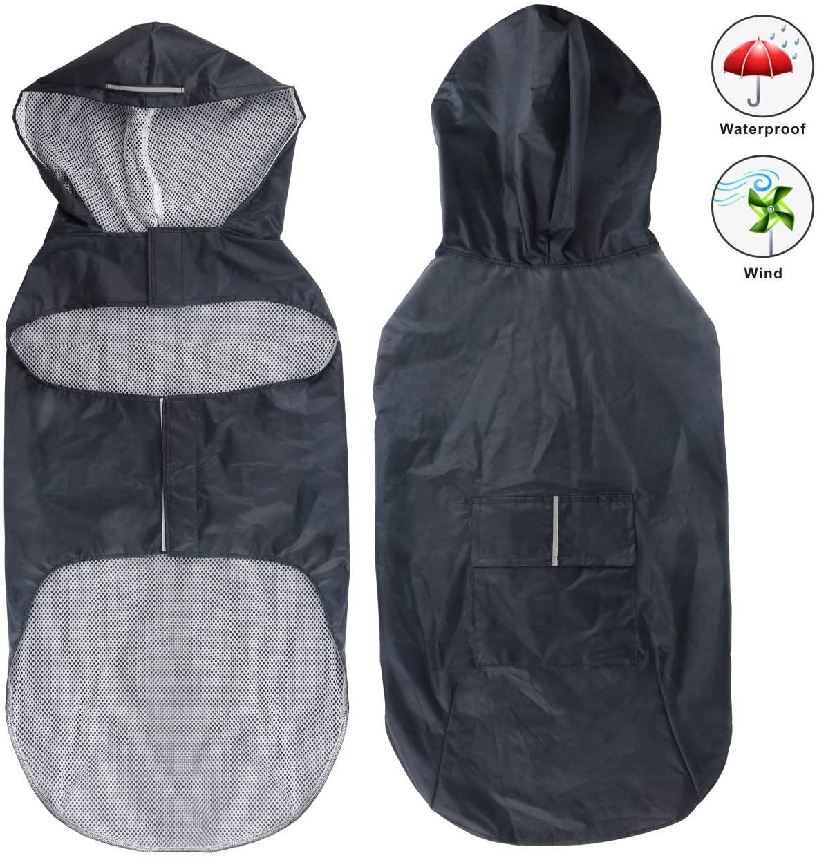 Idepet Dog Raincoat Waterproof Hoodie Jacket Rain Poncho Pet Rainwear Clothes with Reflective Stripe for Small Medium Large Dogs