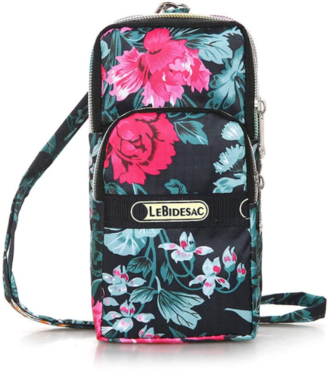 MODANA Fashion Sports Shoulder Bag Mini Wrist Purse Armband Bag Universal Phone Holder Pouch Case for iPhone/Samsung/LG/Moto/Black Berry/Sony/HTC/Nexus/Nokia/Lumia/Huawei and So on. (Flower-1)