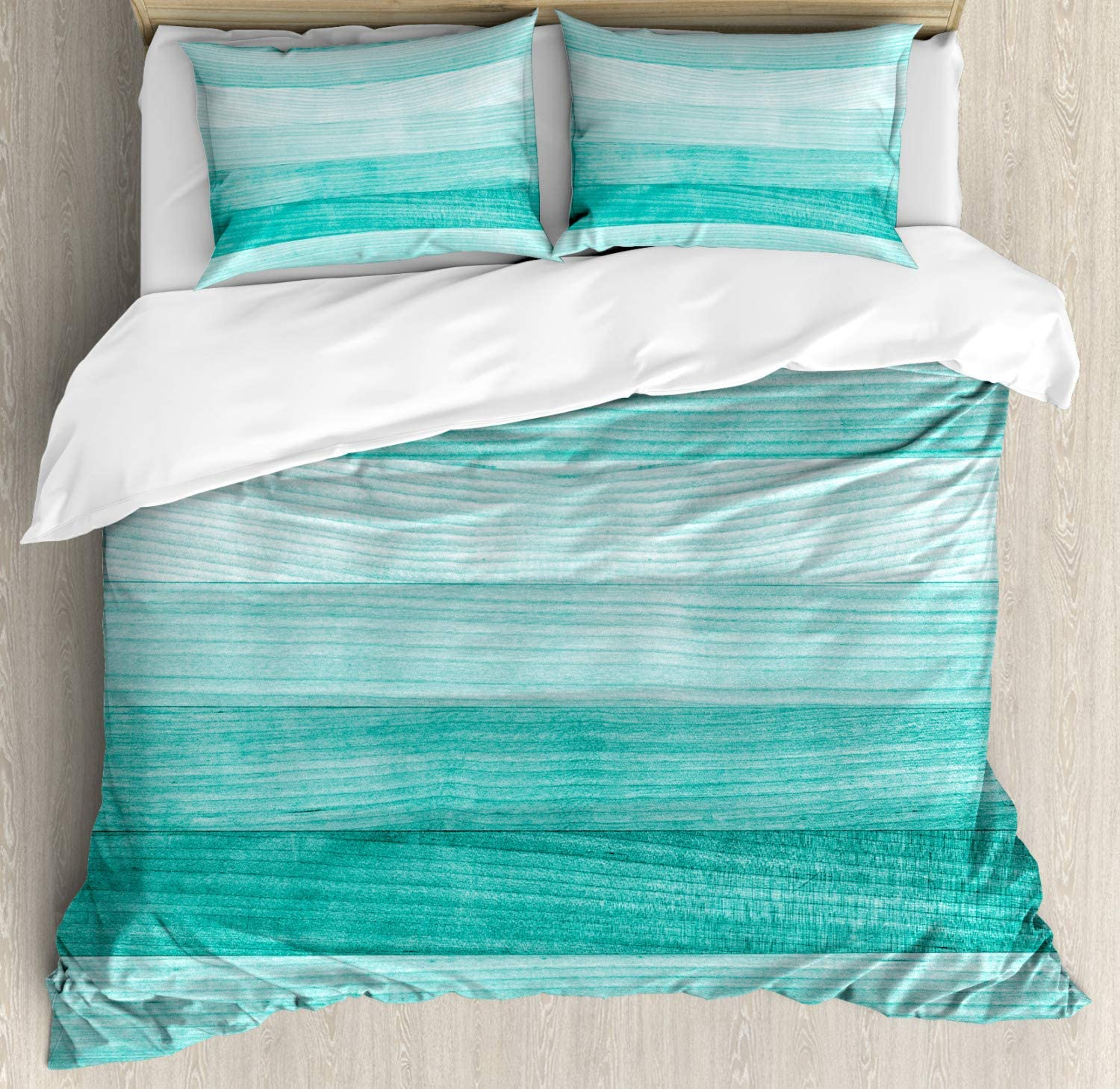 Ambesonne Teal Duvet Cover Set, Painted Wood Board Horizontal Lines Birthdays Easter Holiday Print Backdrop Image, Decorative 3 Piece Bedding Set with 2 Pillow Shams, Queen Size, Turquoise
