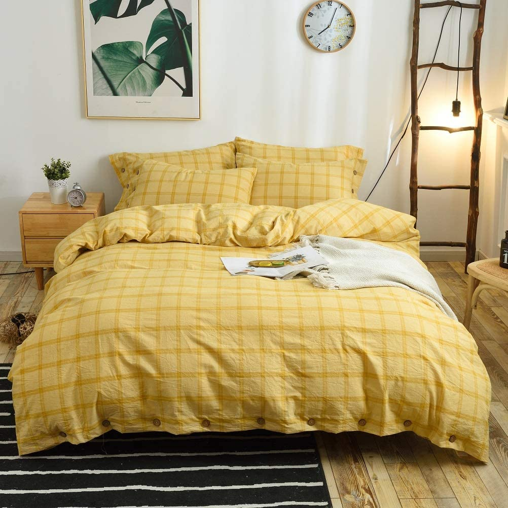M&Meagle 3 Pieces Yellow Grid Duvet Cover King,100% Washed Cotton Yarn Dyed Duvet Cover with Button Closure,Ultra Soft Natural Cotton Bedding Set-King Size(1 Duvet Cover 2 Pillowcases)