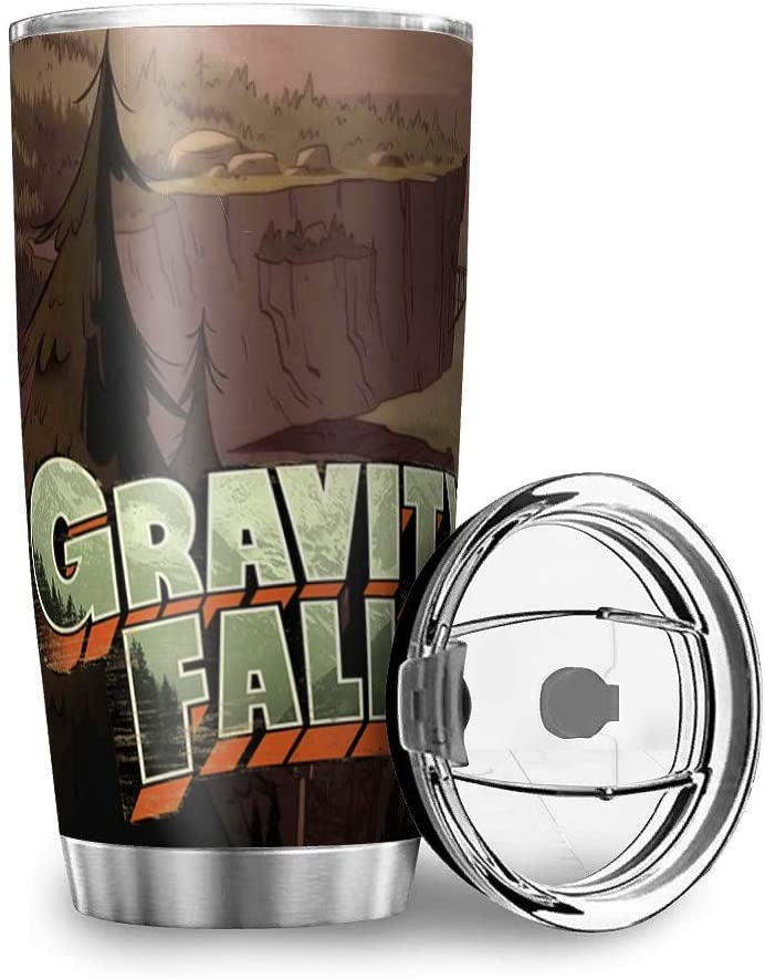 hfrhkudl Gravity-Falls Tumbler 32 oz Insulated Stainless Steel Tumbler with Lid Vacuum Double Wall Travel Tumblers Durable Insulated Coffee Thermal Cup with Splash Proof Sliding Lid for White 20oz