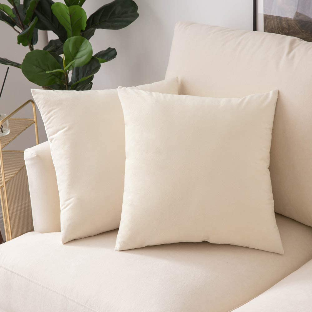Woaboy Pack of 2 Velvet Throw Pillow Covers Decorative Pillowcases Solid Soft Cushion Covers Pillow Case Square Modern for Couch Living Room Sofa Bedroom Car 16x16 inch 40x40cm Cream White