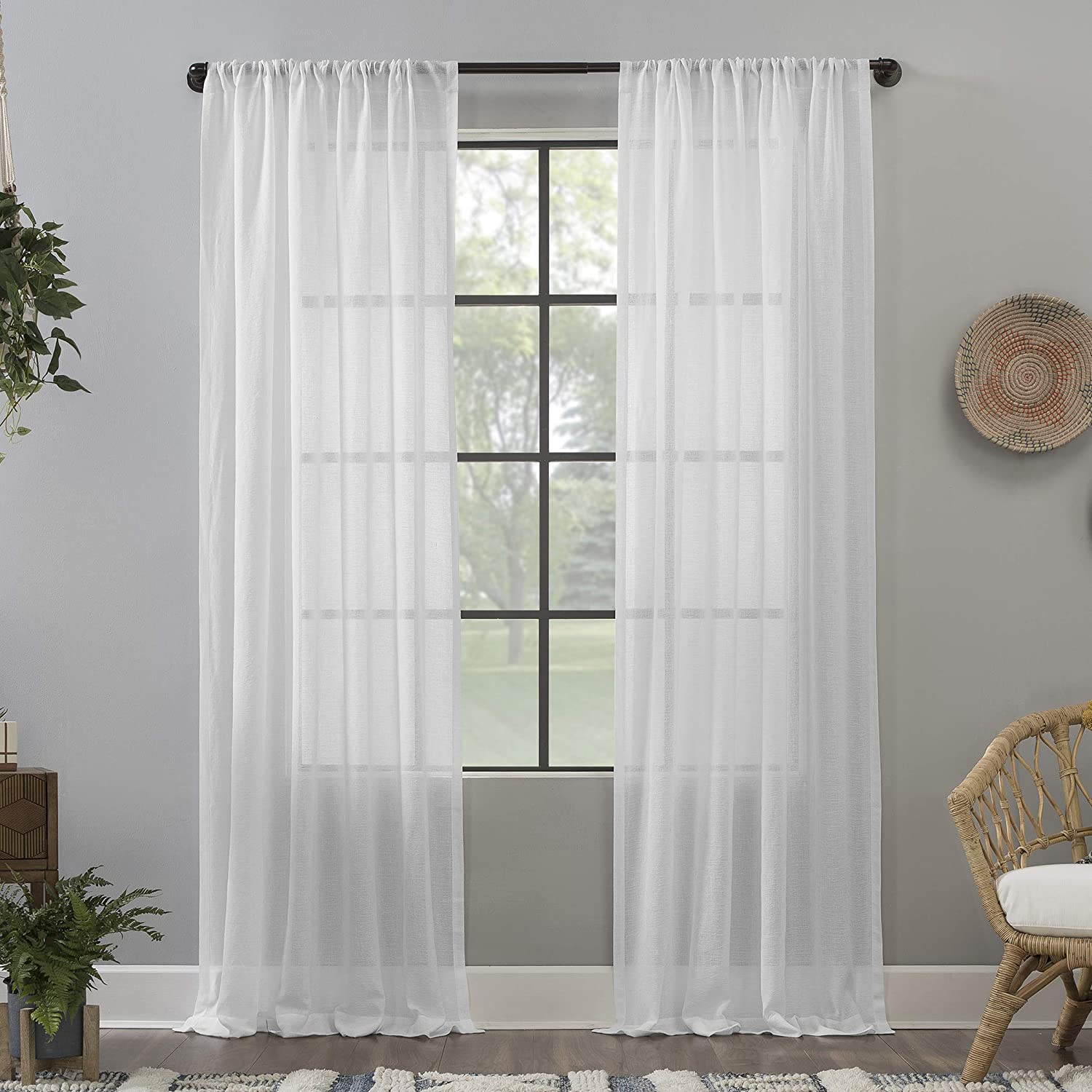 Clean Window Crushed Texture Allergy/Pet Friendly Anti-Dust Sheer Curtain Panel, 52
