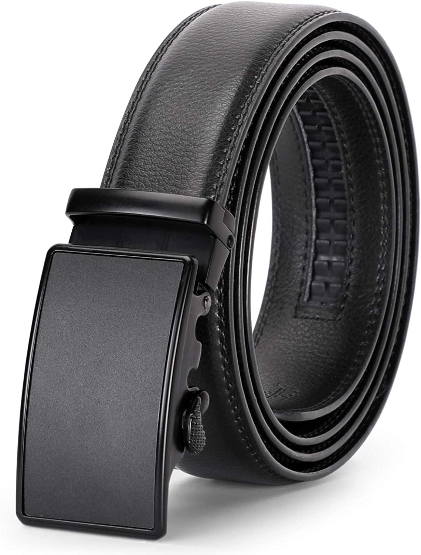Men's Ratchet Leather Belt for Dress, Sliding Automatic Buckle Belt with Black Gift Box