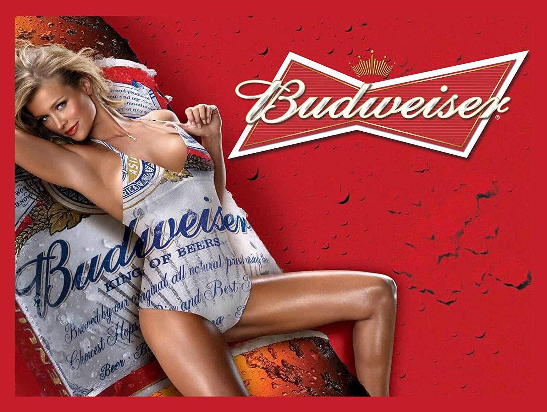 Nxsbns Budweiser Budweiser Fridge Retro Vintage Metal Tin Sign 12