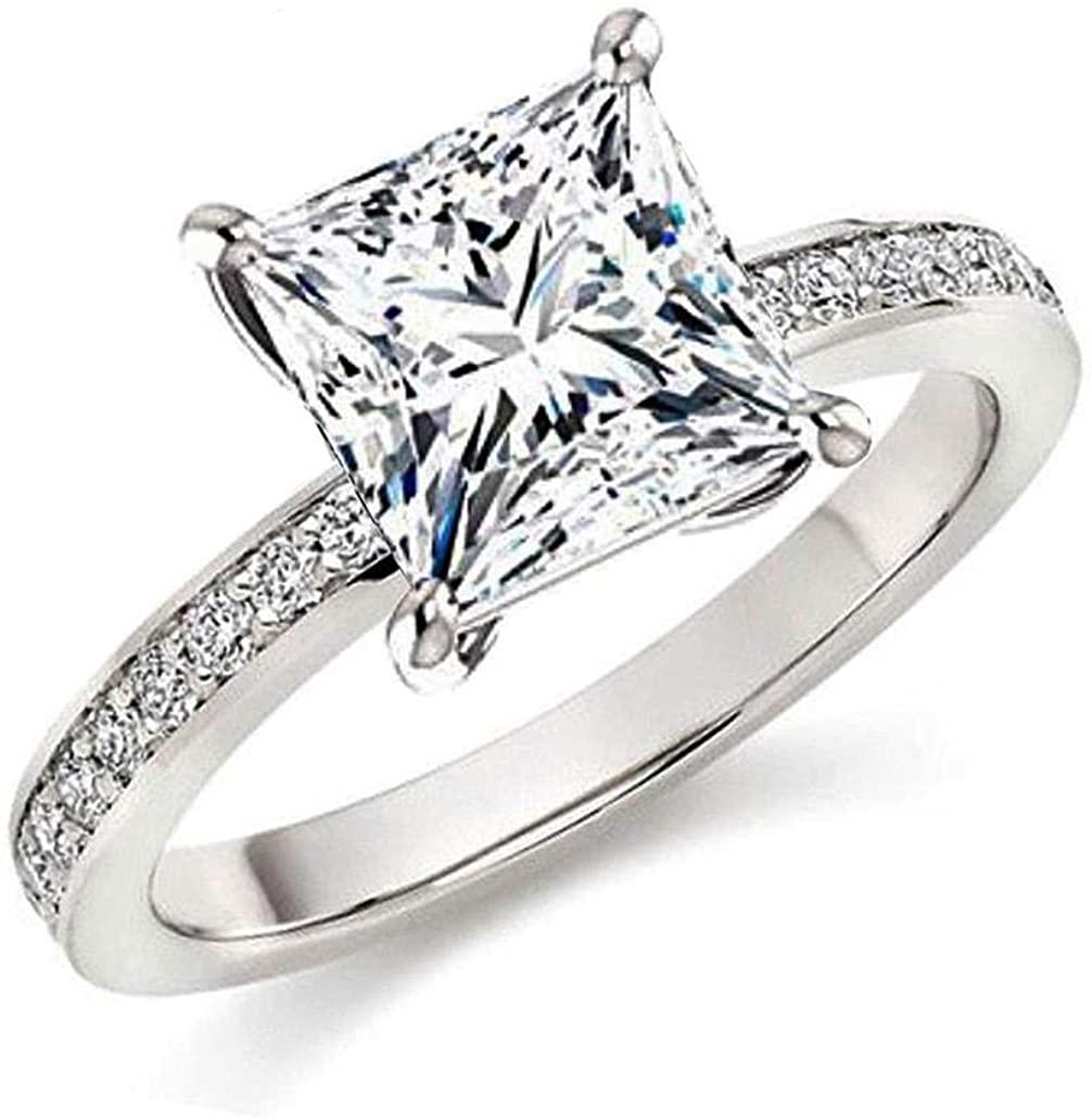 101 Facets Realistic Glamorous Princess Cut Simulated Diamond Band 925 Silver 2 2.5 Carats cz