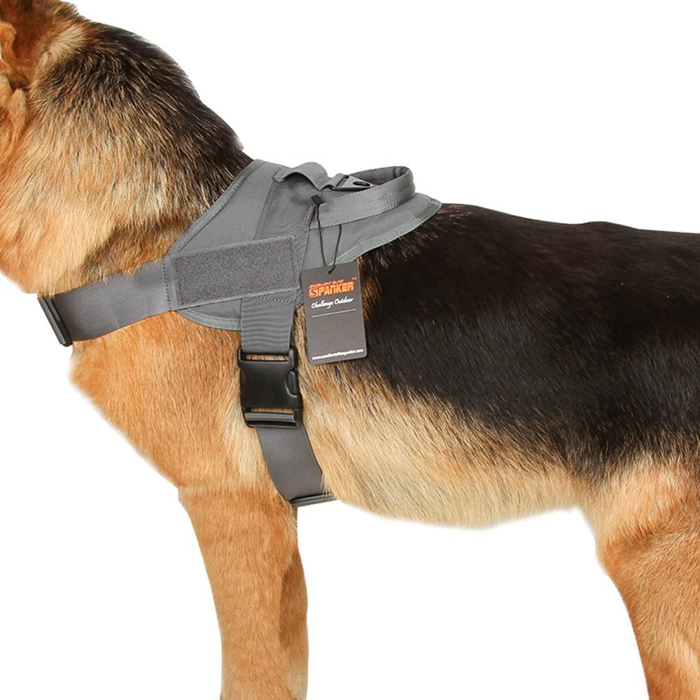 EXCELLENT ELITE SPANKER Tactical Dog Harness Training Military Patrol K9 Dog Vest Adjustable Nylon Military Dog Harness with Handle