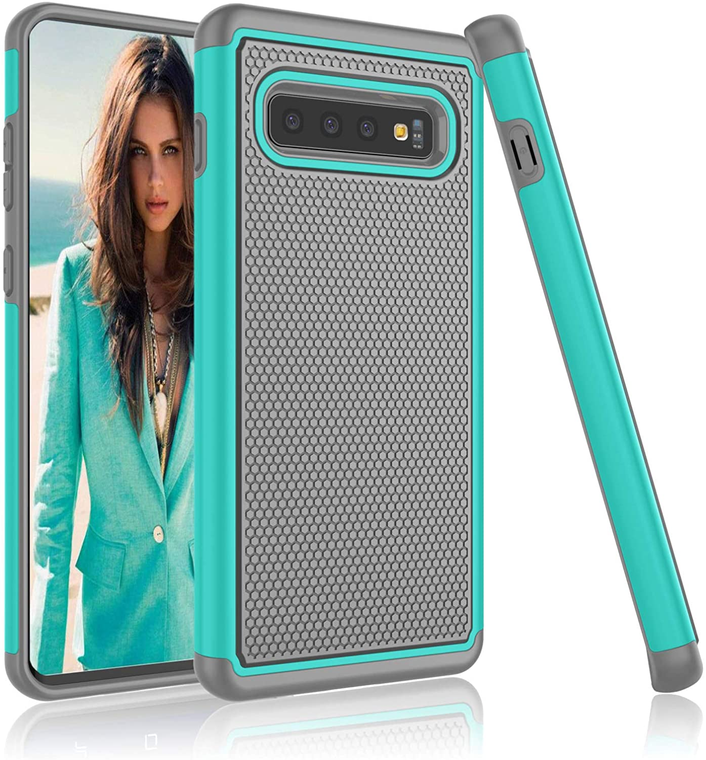 NJJEX Case Compatible with Samsung Galaxy S10, [Nveins] Hybrid Dual Layers Hard Plastic Back + Soft Silicone Rubber Armor Defender Shockproof Slim Phone Cover for Galaxy S10 6.1 Inch 2019 [Turquoise]