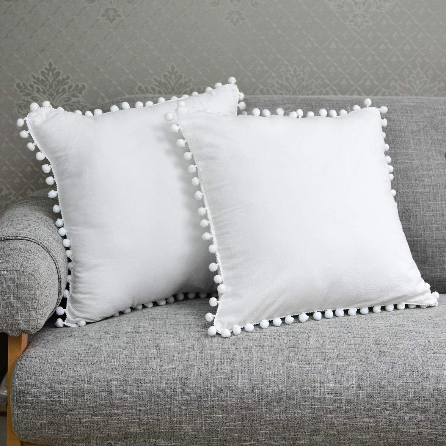 2Pcs Solid White Decorative Pillow Covers 22x22 Square Boho Style Pompom Edged Design Cushion Covers