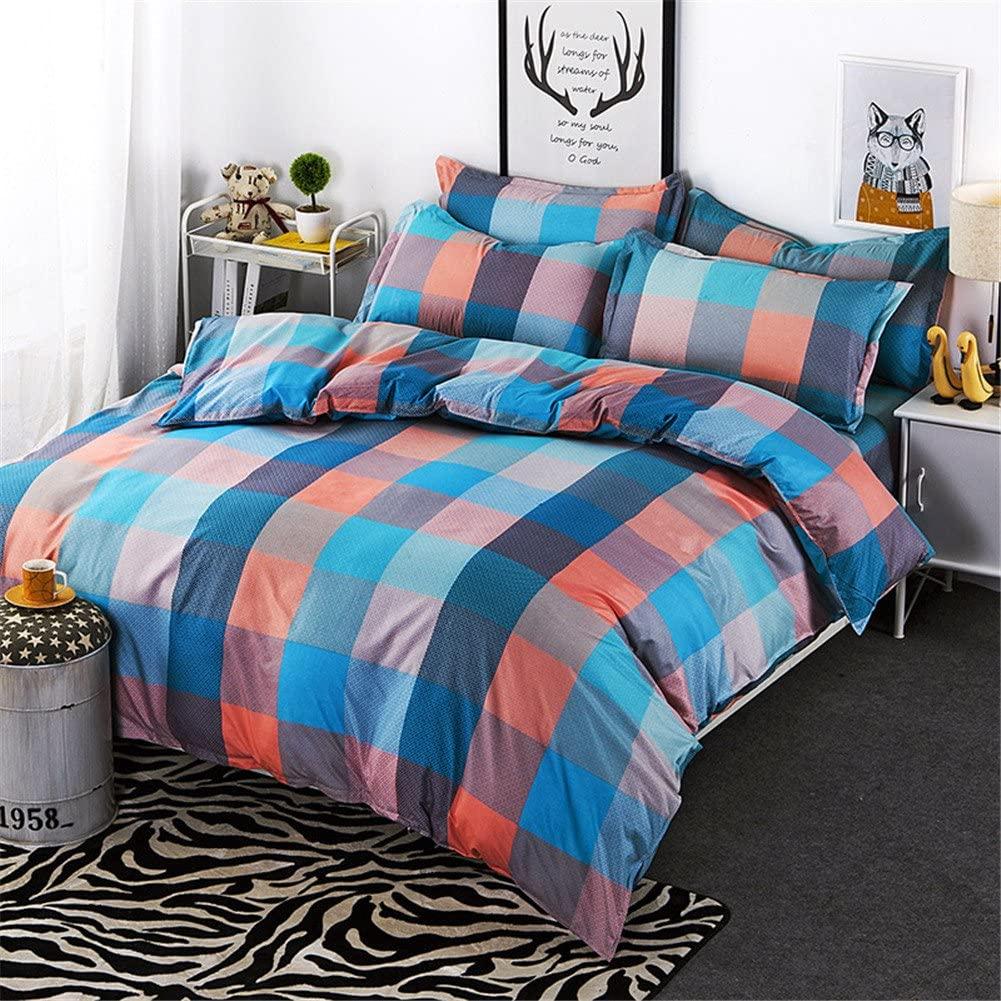 Simonshop Home Textile Lattice Series Soft Cotton Luxury 4pcs Bedding Duvet Cover Sets Twin/Full/Queen/King Size (Twin 1, Style 2)