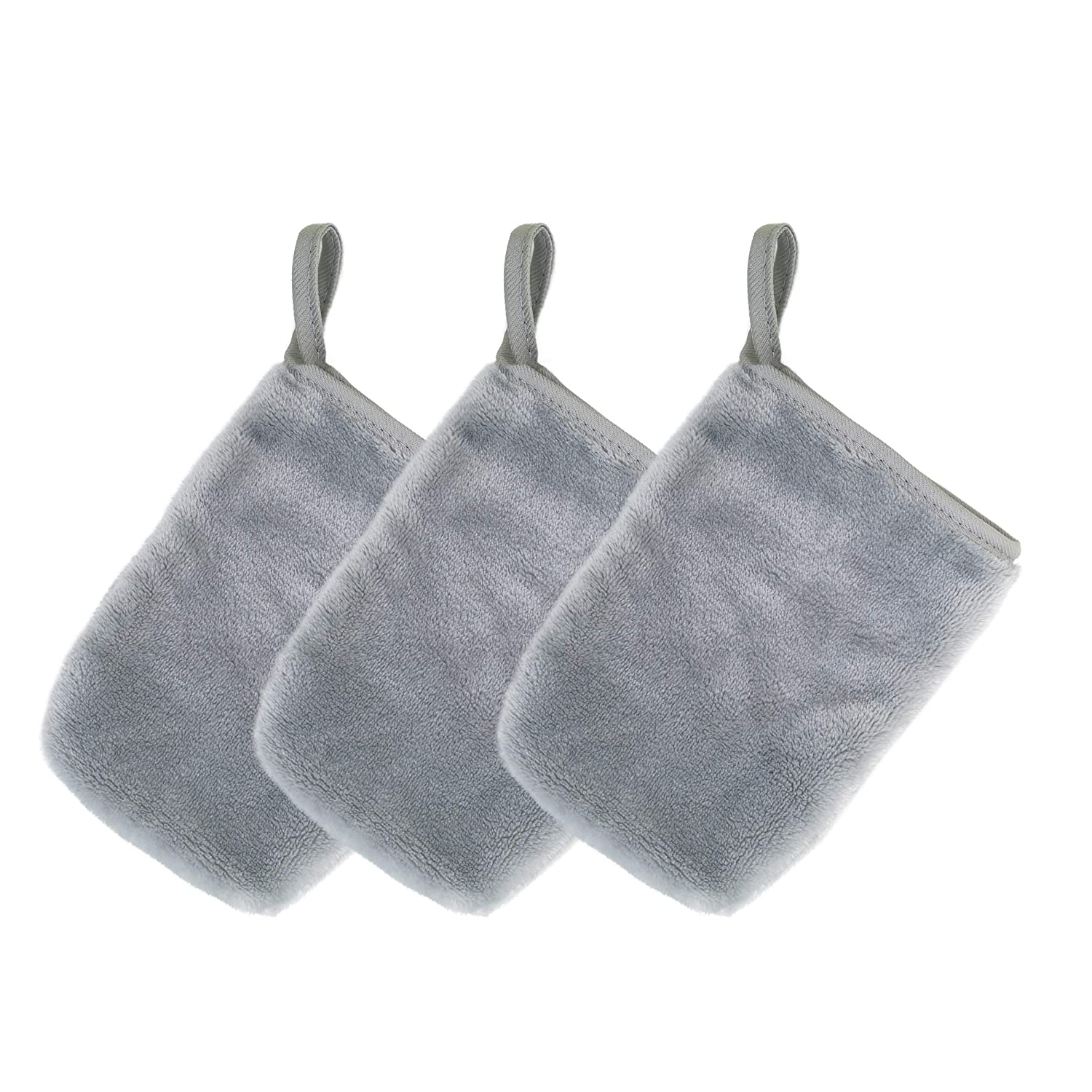 Polyte Hypoallergenic Chemical Free Microfiber Fleece Makeup Remover and Facial Cleansing Cloth Glove 5 x 7 in, 3 Pack (Gray)
