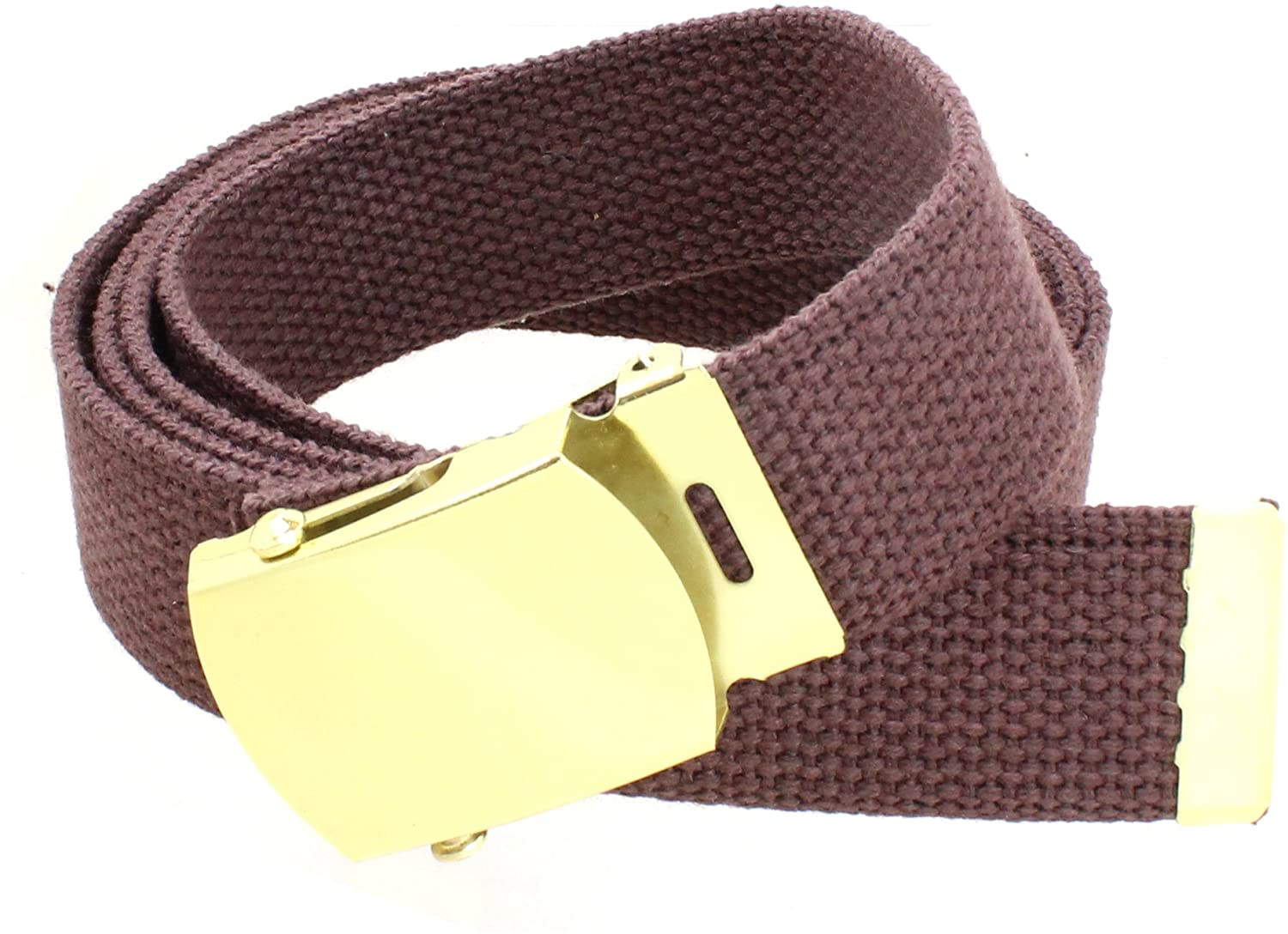 Canvas Web Belt Military Style with Brass Buckle and Tip 54 Long Many Colors