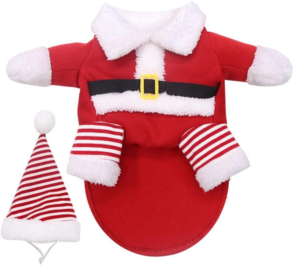 CALOFE Santa Dog Costume Christmas Pet Clothes Puppy Christmas Coat with Hat Cat Warm Coat for Small Medium Dog