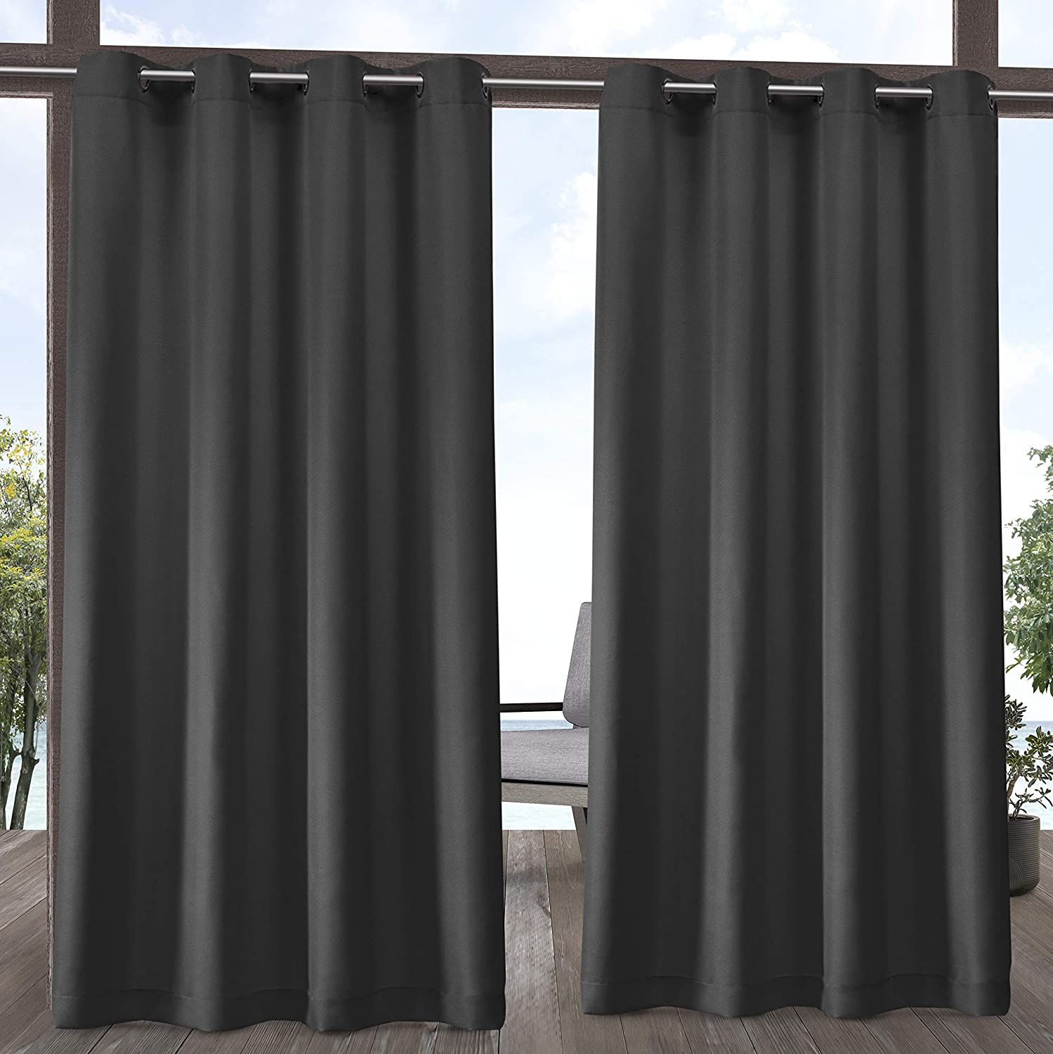 Exclusive Home Curtains Indoor/Outdoor Solid Cabana Grommet Top Curtain Panel Pair, 54x120, Charcoal