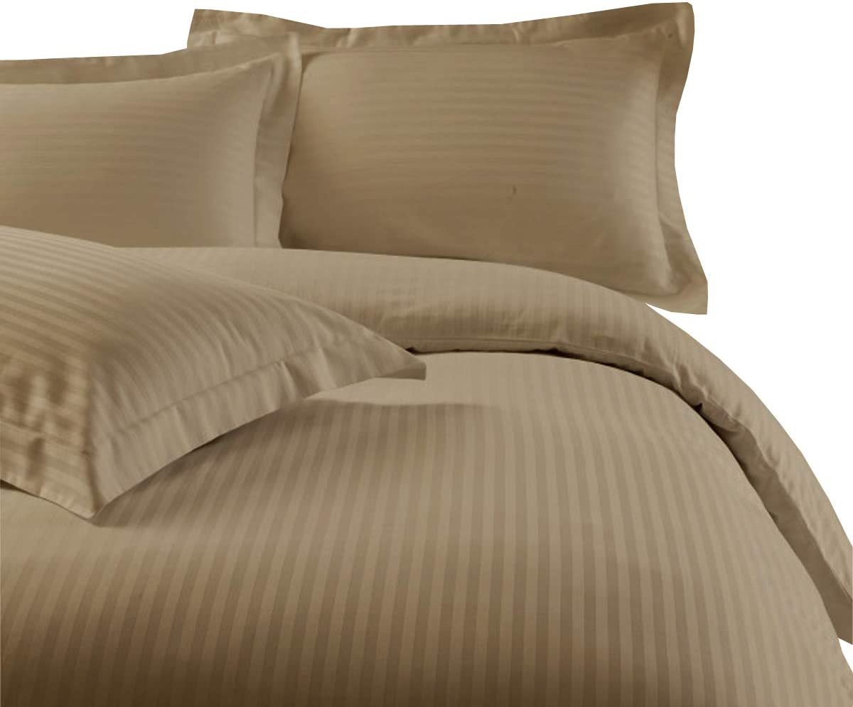 Damask Stripes 300-Thread-Count, 100-Percent Cotton Full-Queen 3PC Duvet Cover Set with Buttons Enclosure, Taupe