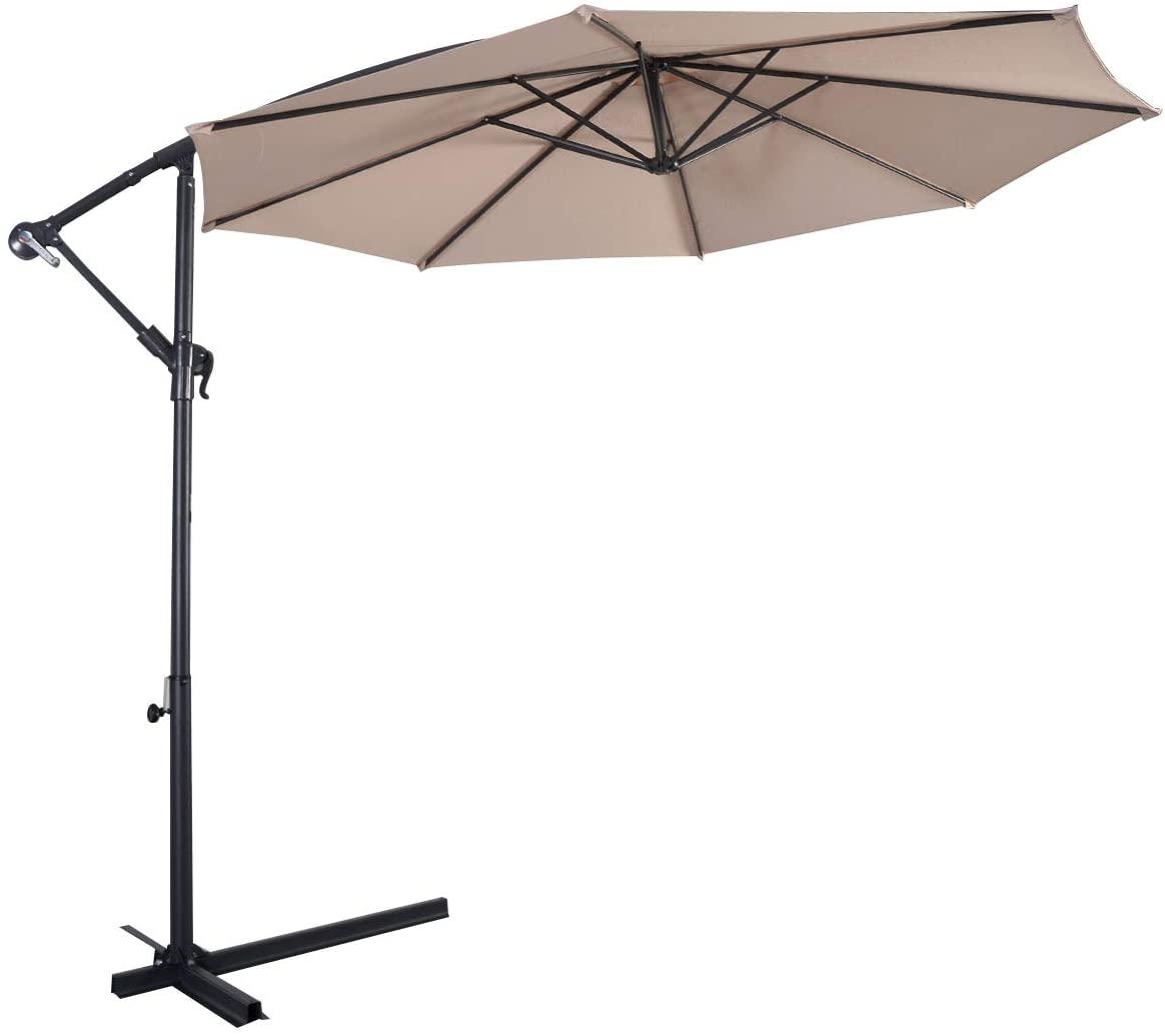 HAPPYGRILL 10FT Patio Umbrella Offset Outdoor Hanging Market Umbrella with Crank & Cross Base