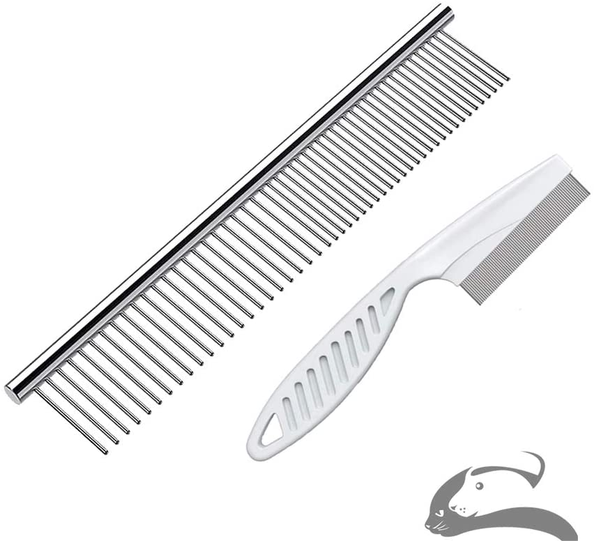 Sorxine Steel Comb for Dog Grooming,Metal Dog Comb,Metal Combs for Dogs & Cats & Small Dog Grooming, Pet Comb for Removing Matted Fur, Knots & Tangles,Shedding