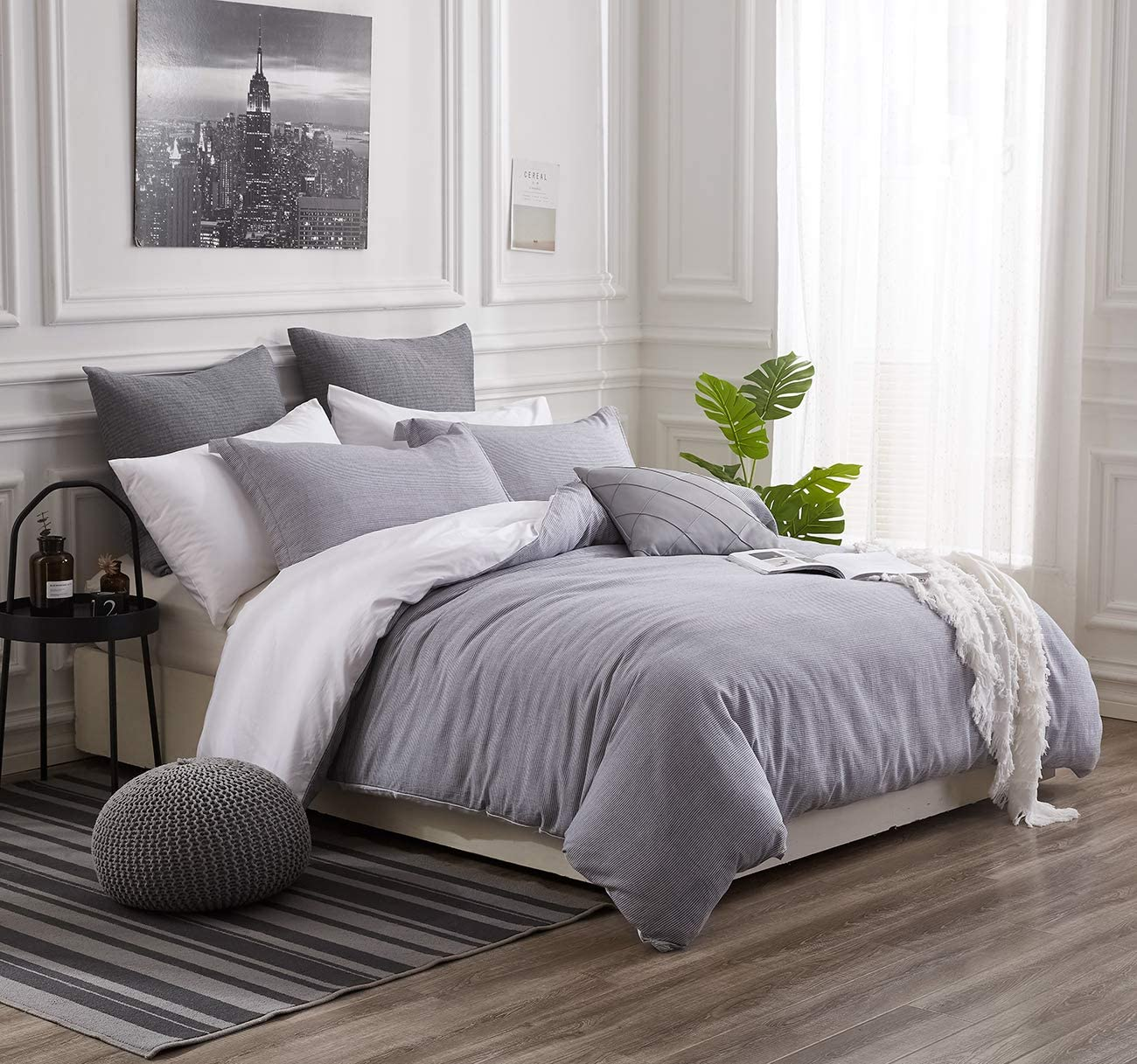 PHF Cotton Duvet Cover Set Yarn Dyed Breathable Soft for Summer Bedding Pinstripe King Size Grey