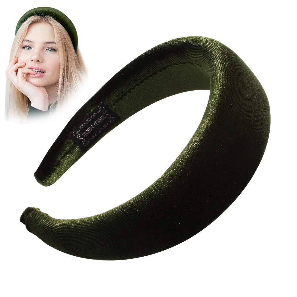 Headbands Women Hair Head Bands - Accessories Velvet Padded Cute Beauty Fashion Hairbands Girls Vintage Head Hair Bands Boho Wide Band For Wash Face Makeup Workout GYM Yoga Running(Dark Green)