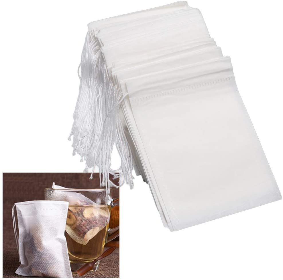 100 Pcs Disposable Tea Filter Bags Natural Wood Pulp for Tea Dry Herb Coffee Herbal Powder Flower Filter Bags