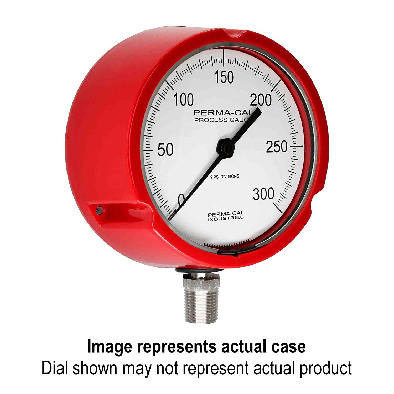 Pressure Gauge, Gearless, Process, 0-100 psi, 4.5
