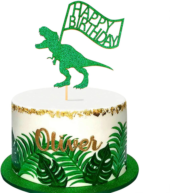 Ercadio 1 Pack Dinosaur Happy Birthday Cake Topper Green Glitter Dino Jungle T-Rex Cake Pick Baby Shower Kids Birthday Party Cake Decorations Supplies