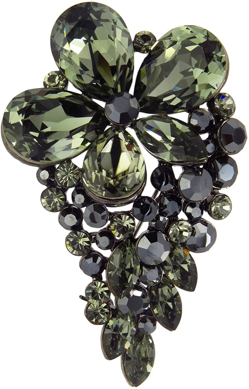 Swarovskid Crystal Phlox Flower Head Brooch with Grape Bunch Crystal Pattern Around Flower Head