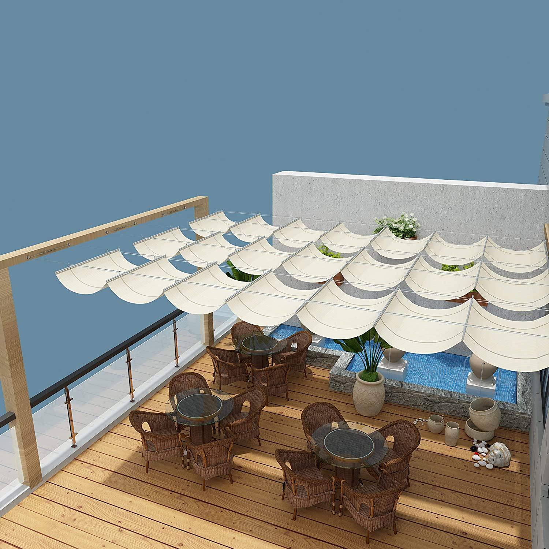 Coarbor Upgraded Retractable Replacement Pergola Canopy Shade Cover 4'Wx10'L Beige Slide Wire Canopy Wave Shade Extendable Shade Cover Shade Sail for Patio Deck Porch Gazebo