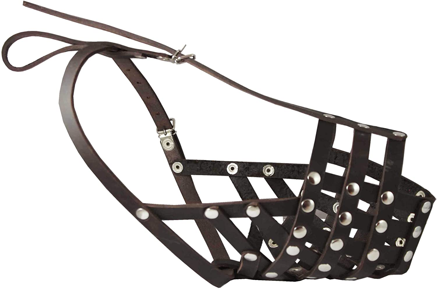 Secure Genuine Leather Mesh Dog Basket Muzzle Brown - Pit Bull, (Circumference 12.5