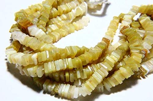 GemAbyss Beads Gemstone 16 Inch Long Full Strand Natural Yellow Opal Heishi Beads 5mm to 6mm Square Shape Natural Opal Gemstone Beads Strand Smooth Stones Code-MVG-39350