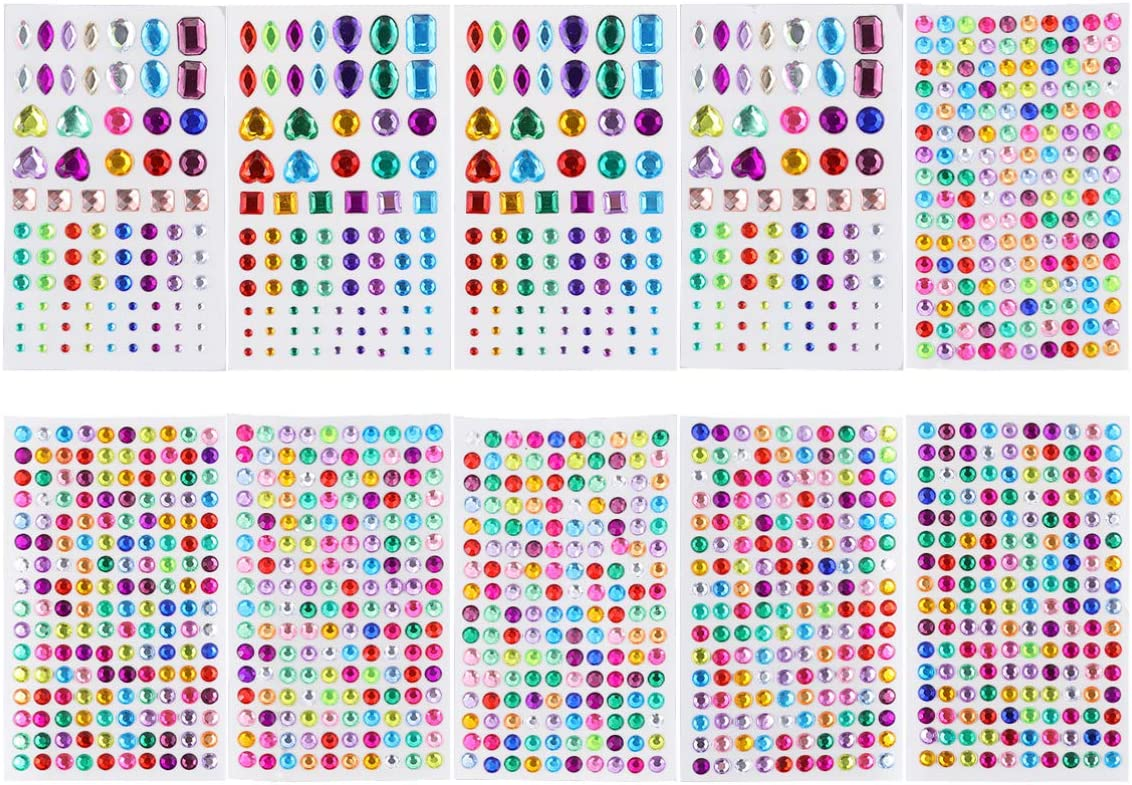 HEALLILY 10 Sheets Rhinestone Stickers Self Adhesive Craft Jewels Stickers Crystal Gem Stickers Flatback Rhinestone for DIY Craft Nail Art Makeup Body Mixed Style