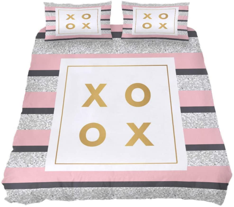 CIXUAN Bedding Duvet Cover Set Extra Long Twin with Zipper Closure, Geometry Twinkling Pink Pattern Durable Comforter Quilt Cover Sets for Teens