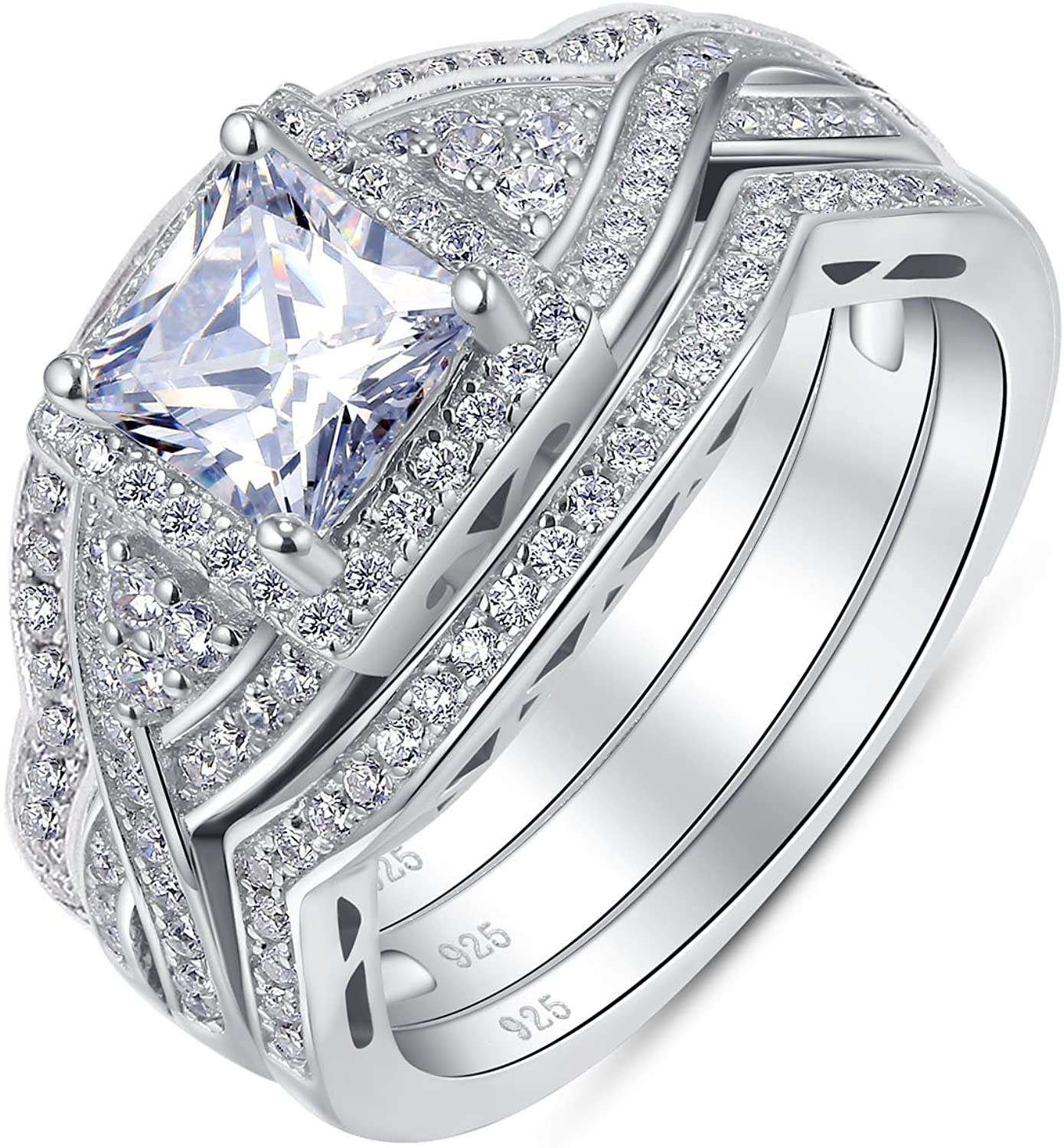 BL Jewelry Sterling Silver 3 Pieces Princess Cut Cubic Zirconia Crisscross Infinity Engagement Wedding Ring Set