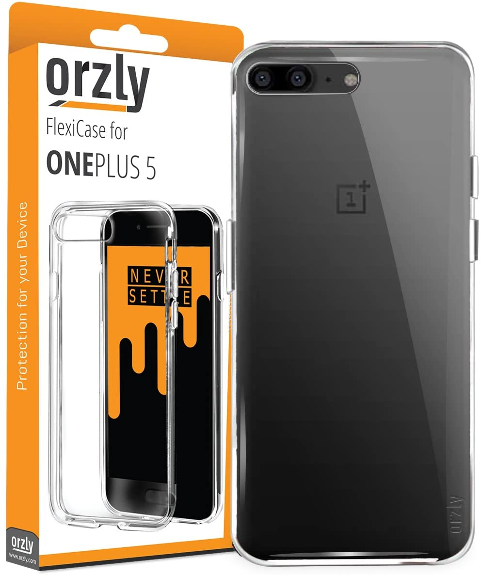 Orzly OnePlus 5 Case, FlexiCase for OnePlus 5 - Clear [Slim-Fit] Protective [Anti-Scratch] Flexible Skin Case Cover for New 2017 Oneplus 5 Smartphone