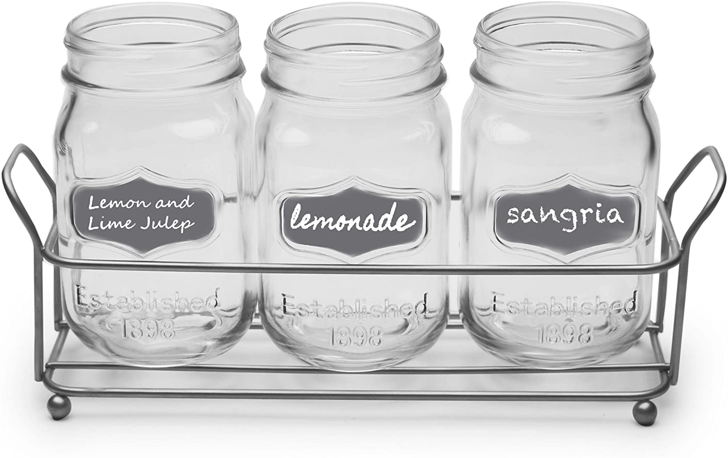 Circleware Trio Grand Mason Jar Glasses with Metal Holder Stand, Set of 4 Home & Kitchen Farmhouse Decor Beverage Drink Tumblers for Water, Beer and Juice, 17 oz, Silver