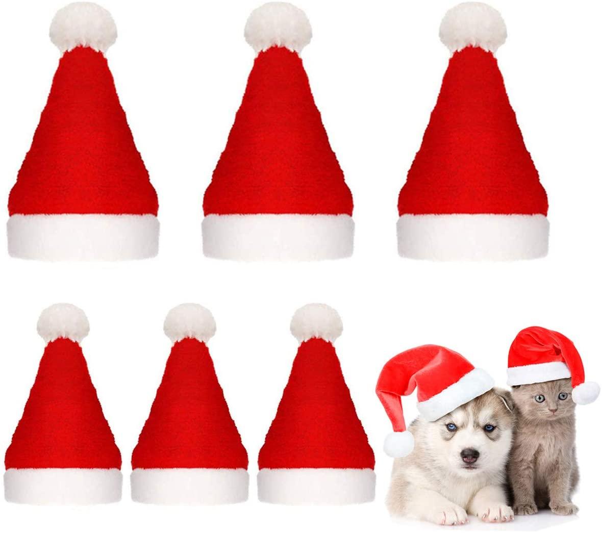 Beiabang 10 Pcs Dog Cat Pet Santa Hat Christmas Pet Costumes Santa Hat Pet Christmas Photo Props with a Christmas Drawstring Gift Bag for Puppy Kitten Small Cats Dogs
