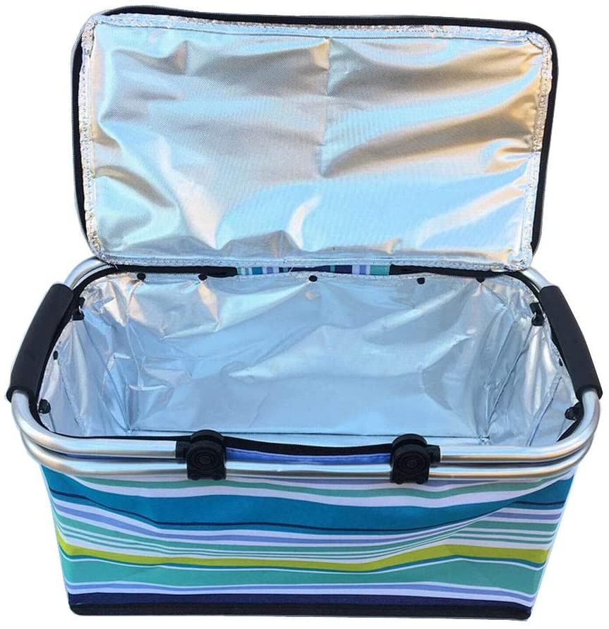 24station [Stripe-2] Collapsible Picnic Basket Insulated Picnic Basket Takeaway Box