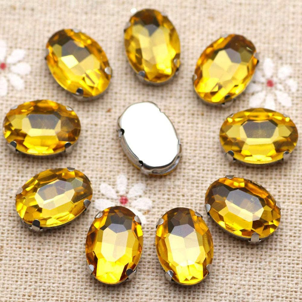 Gold Rhinestones Oval Sew On Rhinestone 50pcs 10x14mm Flatback Rhinestones with Silver Prongs for Crafts Clothes Dresses Shoes Jewelry Making