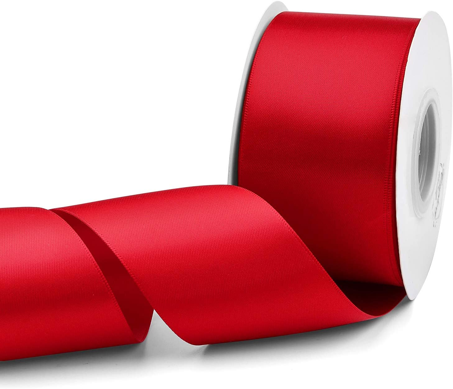 Humphrey's Craft 2 Inch Red Double Faced Satin Ribbon - 25 Yards Variety of Color for Crafts Gift Wrapping DIY Bows Bridal Bouquet Cutting Ceremony Decoration Sewing Christmas Tree Wedding.
