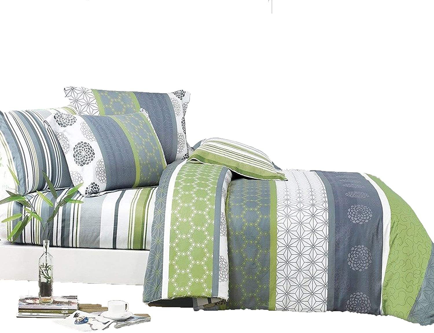 Swanson Beddings Serene 2-Piece 100% Cotton Bedding Set: Duvet Cover and One Pillow Sham (Twin)