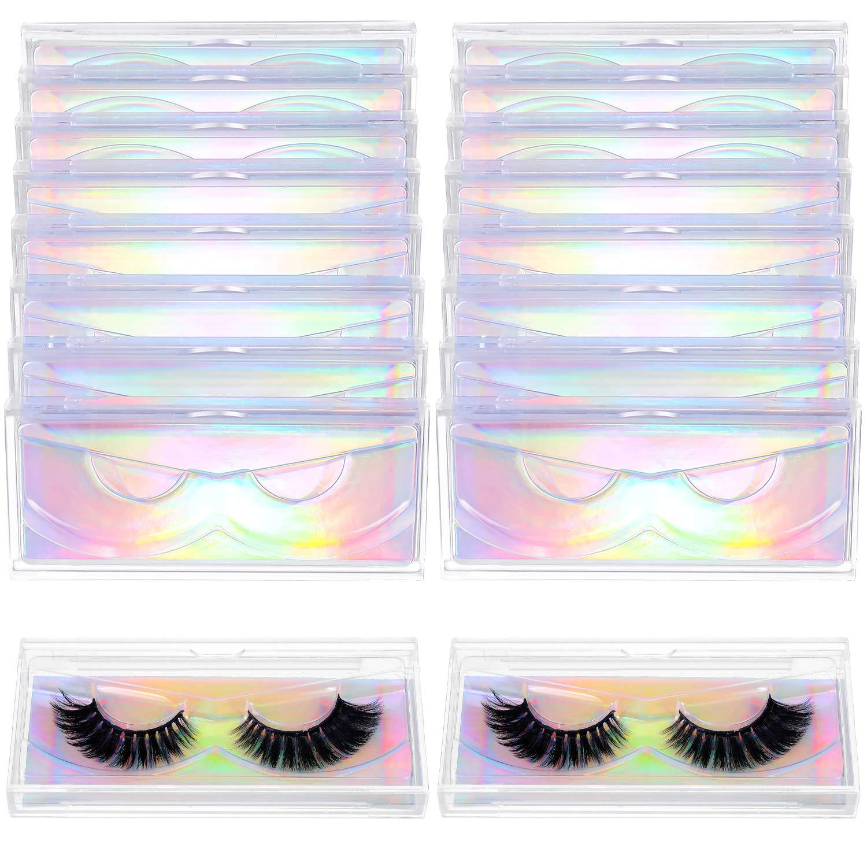 24 Pieces False Eyelash Packaging Box Empty Lash Box Plastic Eyelash Storage Box Clear Empty Eyelash Case with Glitter Paper and Tray for Women Girls Fake Eyelash Care (Holographic)