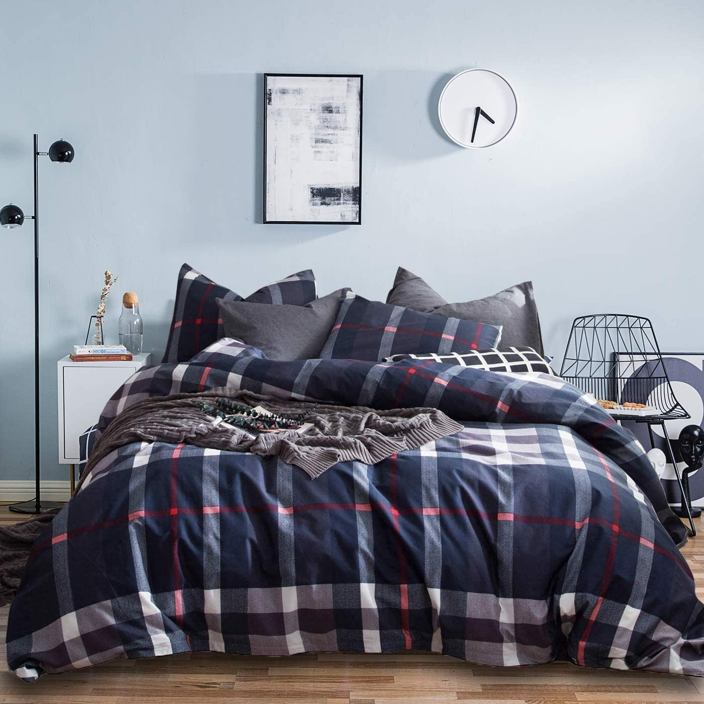 Jumeey Navy Plaid Duvet Cover Queen Buffalo Checkered Bedding Set Full Boys Dark Color Blue Grid Bedding Queen Men Tartan Bedding Set Men Women Cotton Full Size Gingham Checker Duvet Cover Sets
