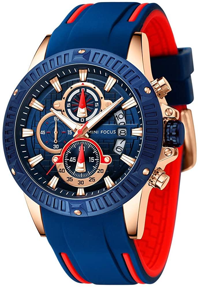 Men's Watch, Sports Waterproof Chronograph Business Big Face Analog Quartz Watches Blue Silicon Strap Date Calendar Watch for Men