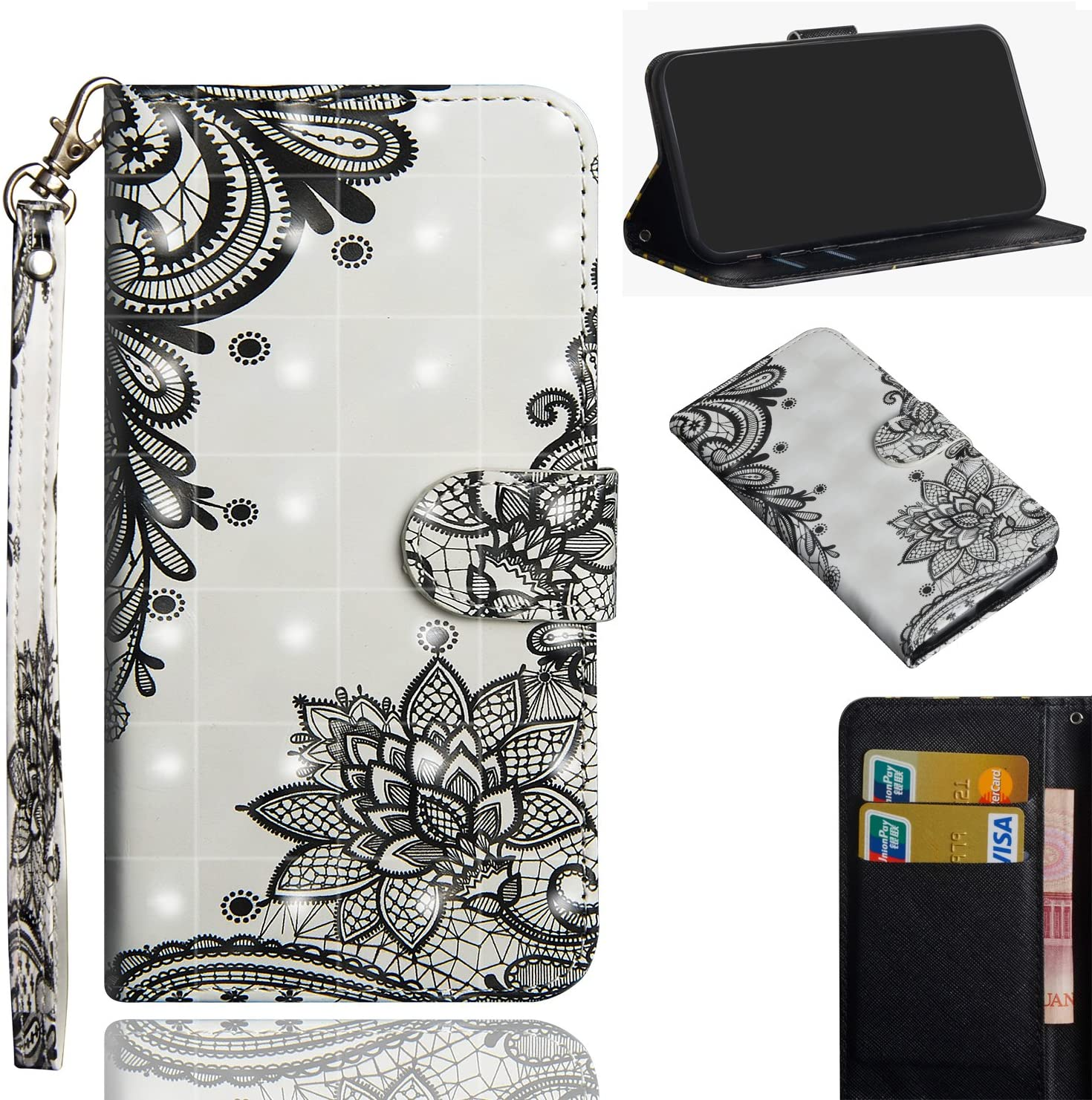 Nokia 2.3 Wallet Case, ZYZX 3D Stylish Color Painting PU Leather Shockproof Flip Case with Kickstand and Credit Cards Slot Magnetic Phone Holder Cover for Nokia 2.3- Black Flower